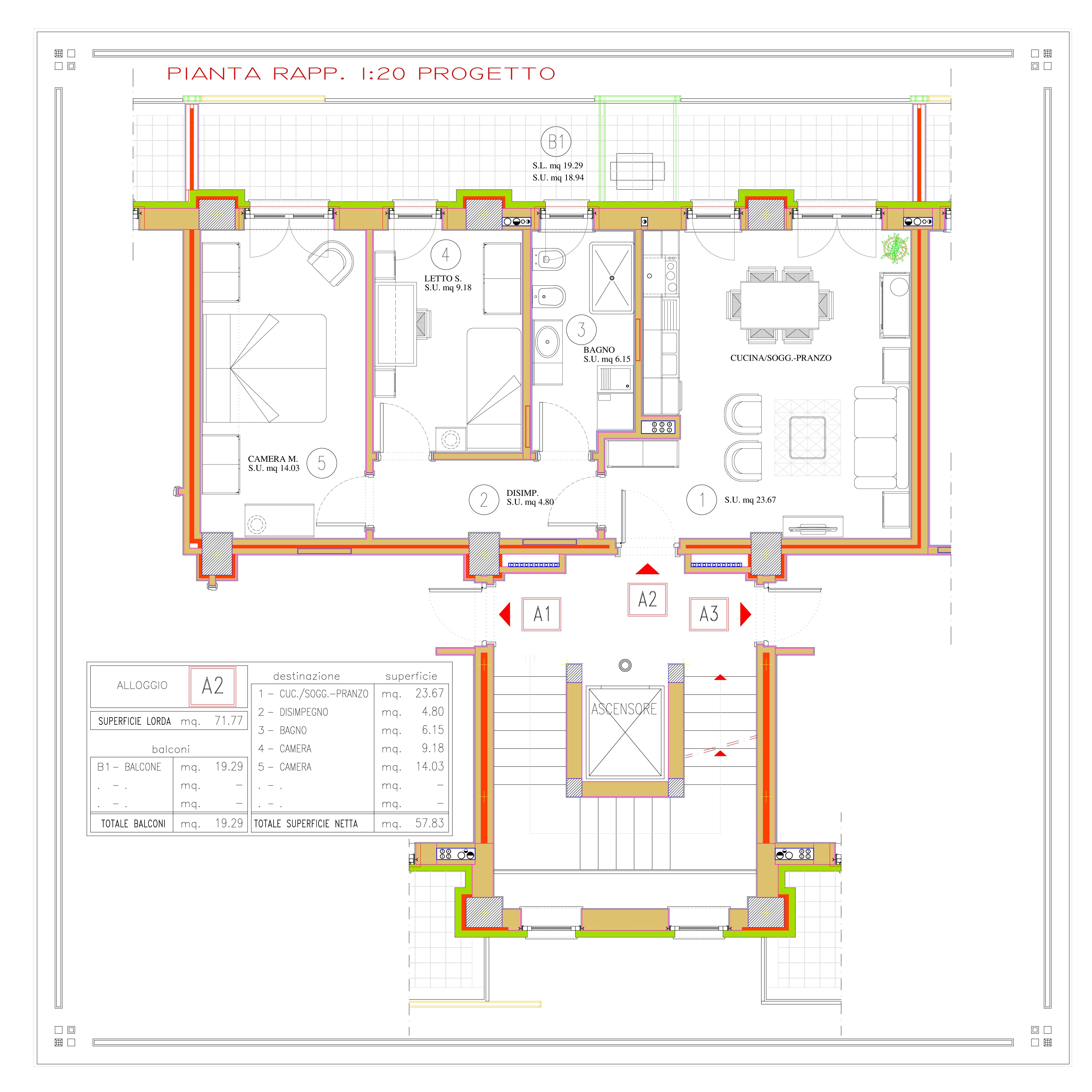 DIVISIONE APPARTAMENTO A2 (LORDI E NETTI) quota 819 (821.75)-001