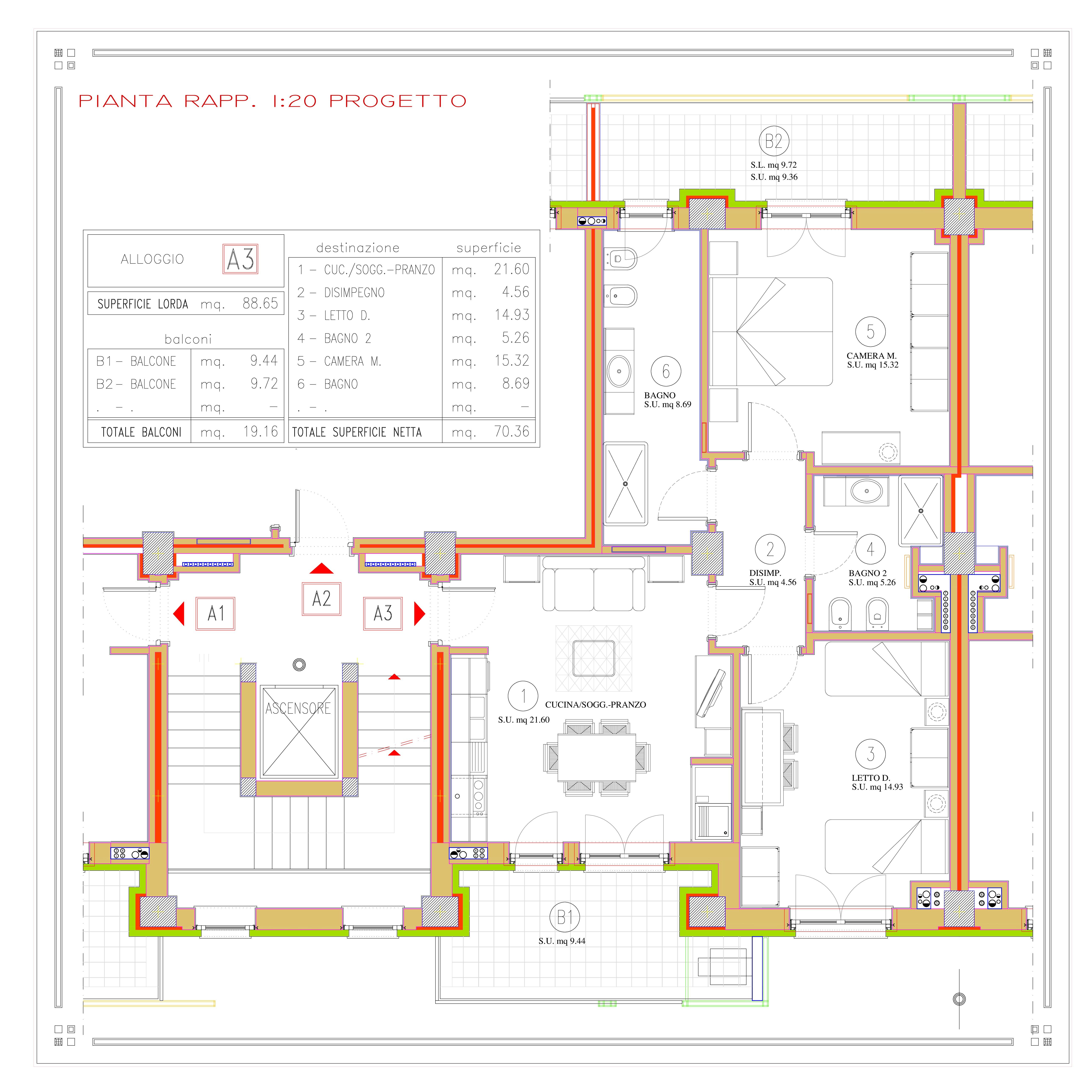 DIVISIONE APPARTAMENTO A3 (LORDI E NETTI) quota 819 (821.75)-001